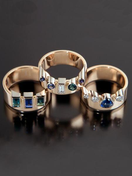 Cyndee ringar guld safirer turmaliner diamant